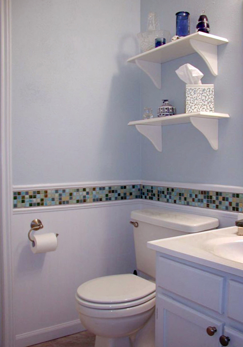 Original Guest Bathroom Features An Alcove Filled With A Marble Clad Tub Accented With White Subway Tile Surround Fitted With A Mosaic Marble Tiled Niche And Gray Mosaic Marble Border Tiles Finished With A Seamless Glass Sliding Door Master