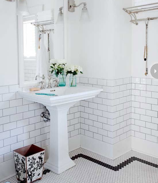Tiles With Borders: 22 White Bathroom Tiles With Border Ideas And Pictures 2019