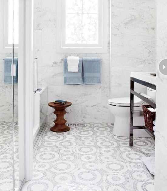 White glitter floor tiles