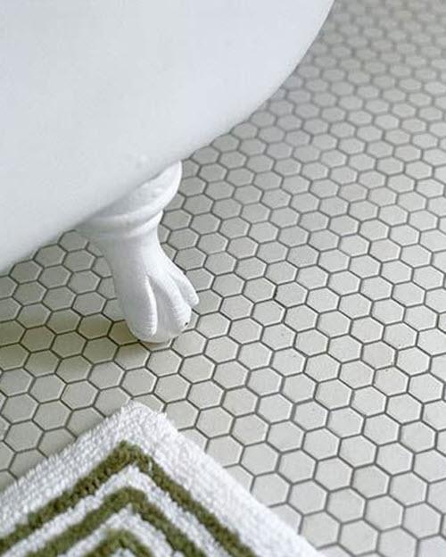 White Hexagon Bathroom Floor Tile 1 2 3 4