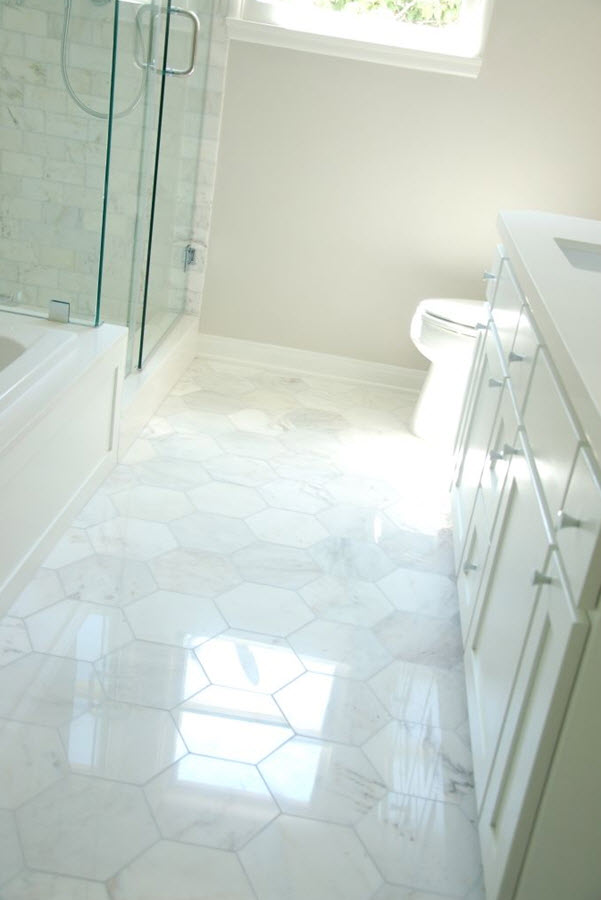 34 White Hexagon Bathroom Floor Tile Ideas And Pictures 2019