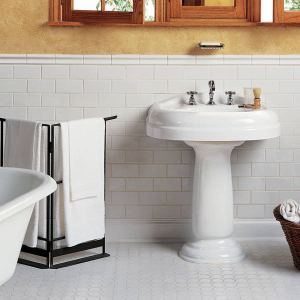 Wonderful Bathroom Tile Idea White Washbasin Hexagonal Floor Design
