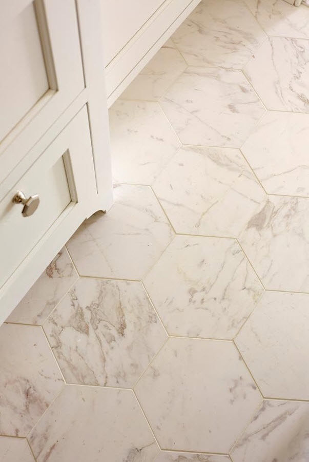32 white hexagon bathroom tile ideas and pictures Marble hex tile bathroom floor