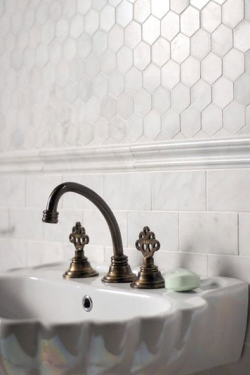 32 White Hexagon Bathroom Tile Ideas And Pictures 2019