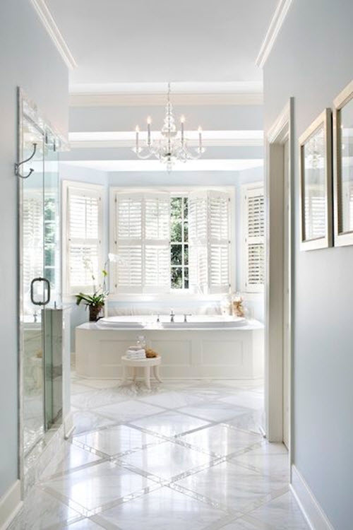 29 white marble bathroom floor tile ideas and pictures for Master bathroom flooring