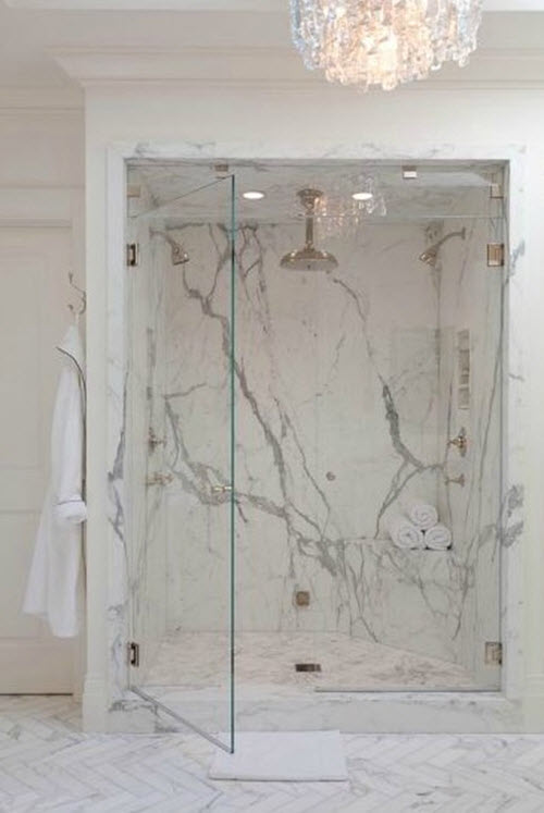 29 white marble bathroom tile ideas and pictures for Marble master bathroom designs