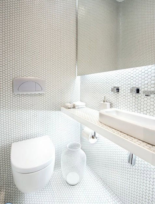 30 white mosaic bathroom floor tile ideas and pictures for Bisazza carrelage