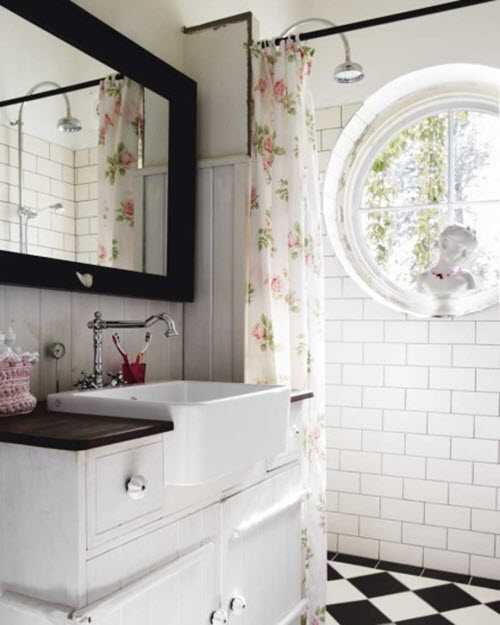 Shabby Chic Bathrooms: 37 White Rectangular Bathroom Tiles Ideas And Pictures