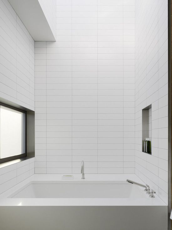 White rectangular tiles for 8x4 bathroom ideas