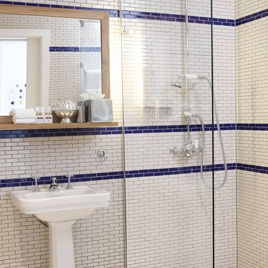 White rectangular tiles for 8x4 bathroom design
