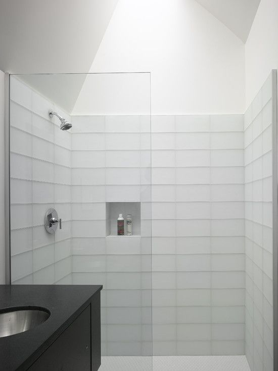 37 white rectangular bathroom tiles ideas and pictures Simple contemporary bathroom design