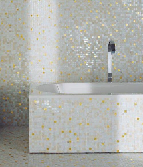 White Glitter Bathroom Wall Tiles
