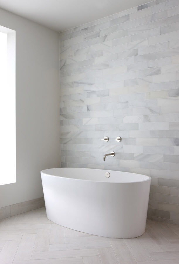 29 white stone bathroom tiles ideas and pictures for Modern bathroom wall tile designs