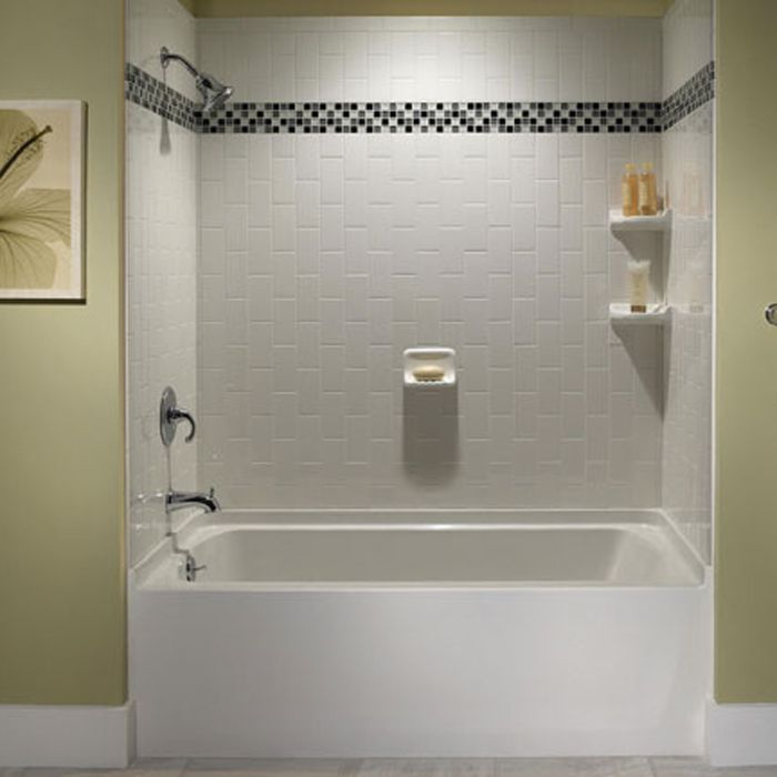 White Subway Tile Tub Surround 10 11