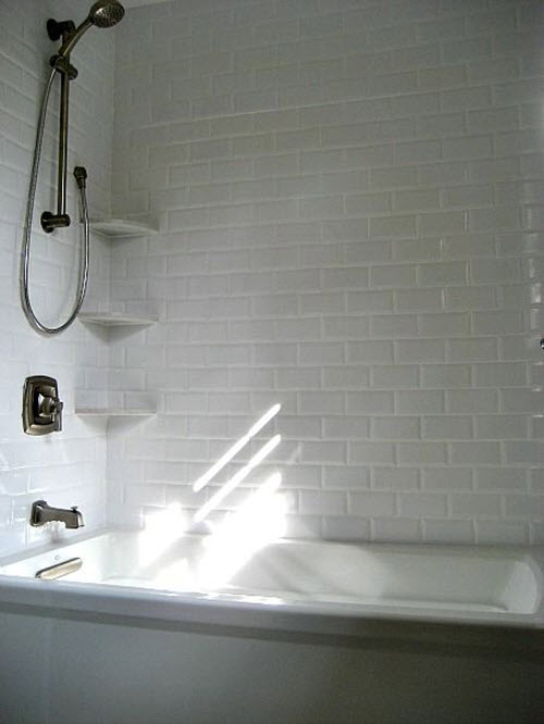 29 white subway tile tub surround ideas and pictures - Tile shower surround ideas ...