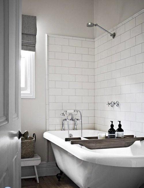 White Subway Tile Bathtub Surround