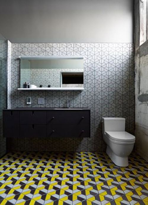 yellow bathroom floor tiles with unique pictures. Black Bedroom Furniture Sets. Home Design Ideas