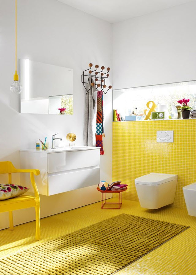 34 Yellow Bathroom Floor Tile Ideas And Pictures