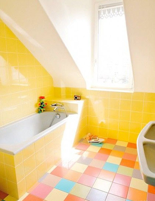34 yellow bathroom floor tile ideas and pictures for Bathroom ideas yellow tile