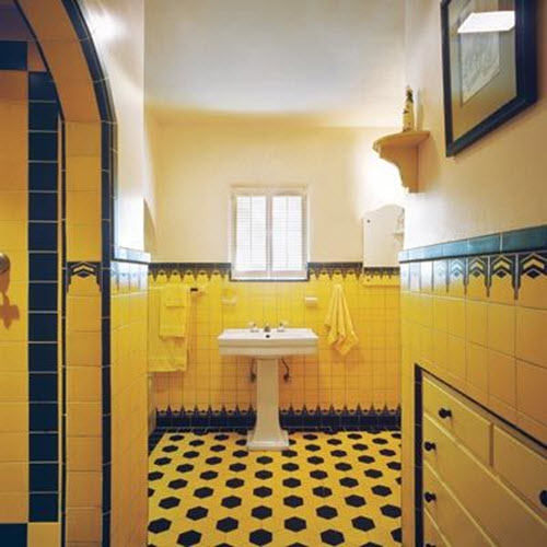 34 yellow bathroom floor tile ideas and pictures for Small art deco bathroom ideas