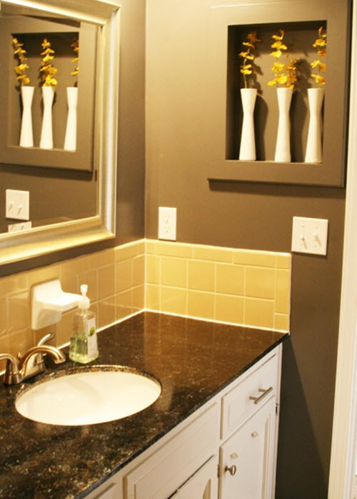 38 yellow bathroom tile ideas and pictures for Bathroom ideas tile and paint