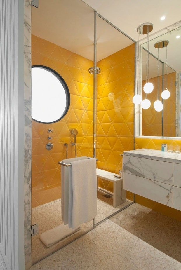 38 yellow bathroom tile ideas and pictures -> Banheiro Moderno Retro