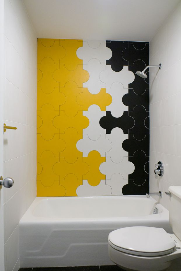 38 yellow bathroom tile ideas and pictures for Yellow and black bathroom ideas