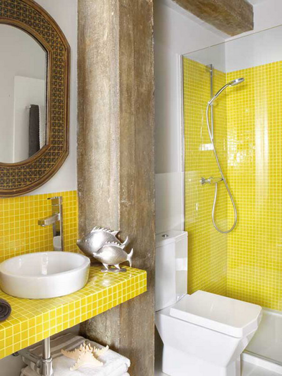 29 yellow mosaic bathroom tiles ideas and pictures for Bathroom ideas yellow tile