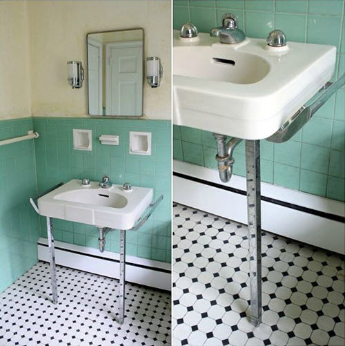 36 1950s Green Bathroom Tile Ideas And Pictures - Retro-green-bathroom-tile