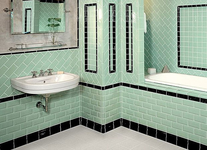 36 1950s green bathroom tile ideas and pictures for Bathroom ideas 1920s home
