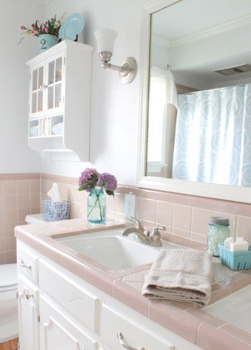 37 1950s pink bathroom tile ideas and pictures for Bathroom ideas 1950s