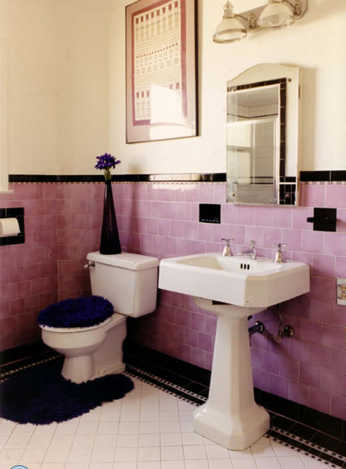 34 4x4 pink bathroom tile ideas and pictures for Pink black bathroom ideas