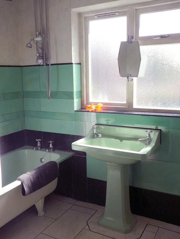 36 art deco green bathroom tiles ideas and pictures for Bathroom design 1930 s home