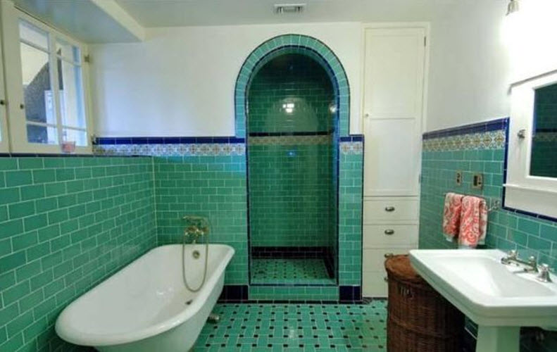 36 art deco green bathroom tiles ideas and pictures for Green bathroom tiles