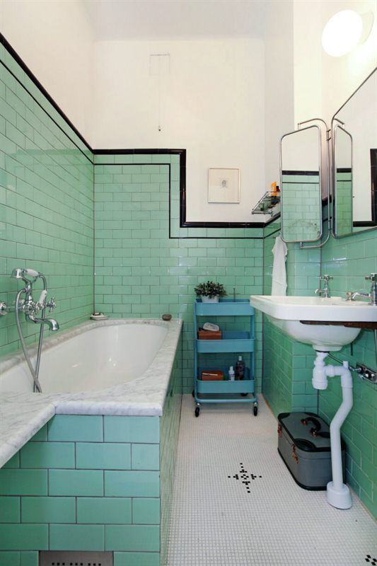 the green and black tile bathroom Trim Use