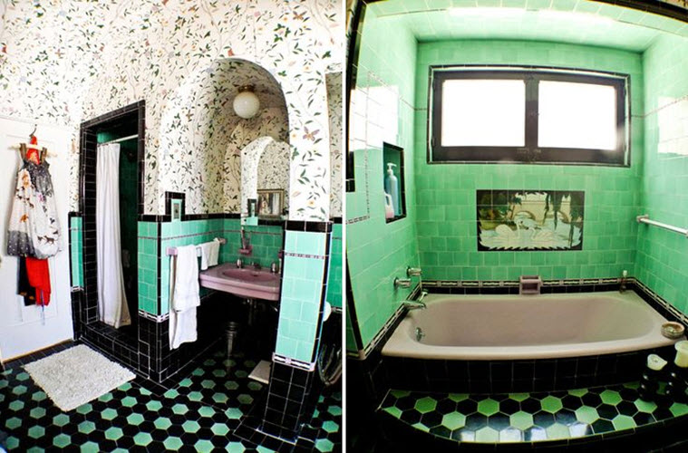 Art Deco Green Bathroom Tiles 35 36