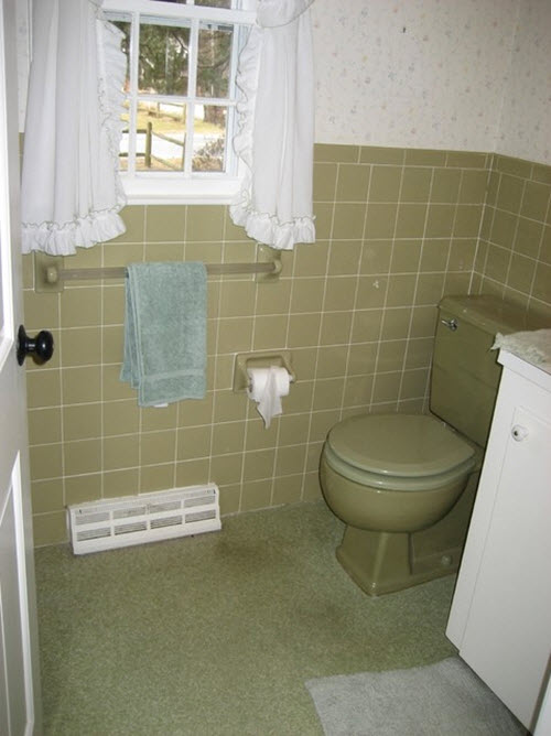 Avocado Green Bathroom Tile