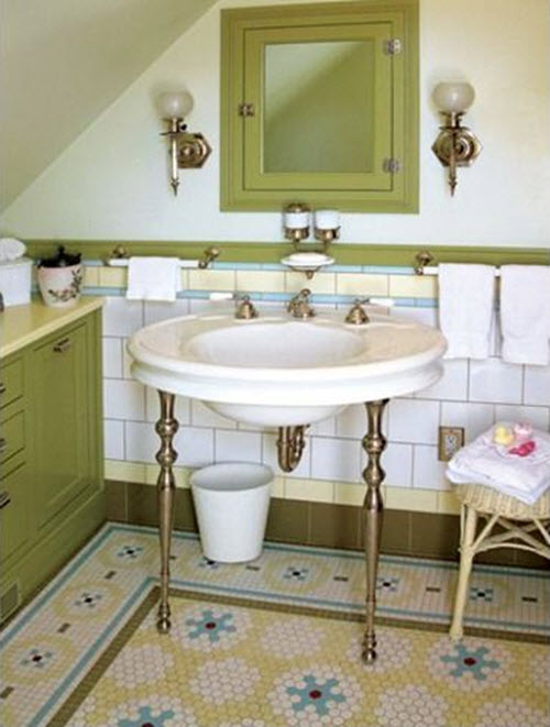 Avocado Green Bathroom Tile 2 3 4 5 6