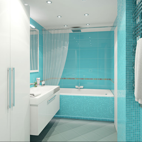 36 baby blue bathroom tile ideas and pictures for Blue tile bathroom ideas