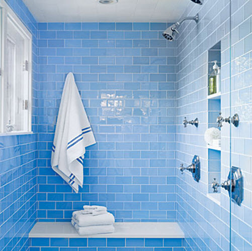 36 baby blue bathroom tile ideas and pictures for Blue tiled bathroom ideas