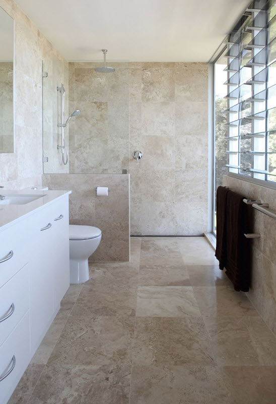 Elegant Modern Tile Flooring Bathroom Contemporary With Brown And White Brown