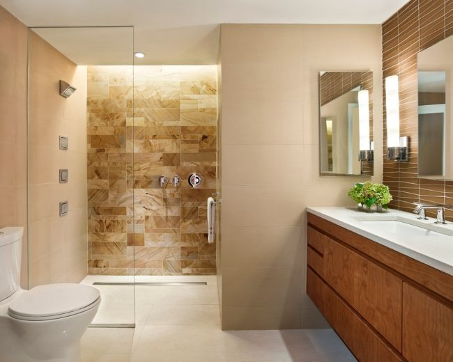 40 beige and brown bathroom tiles ideas and pictures for Badezimmer design accessoires