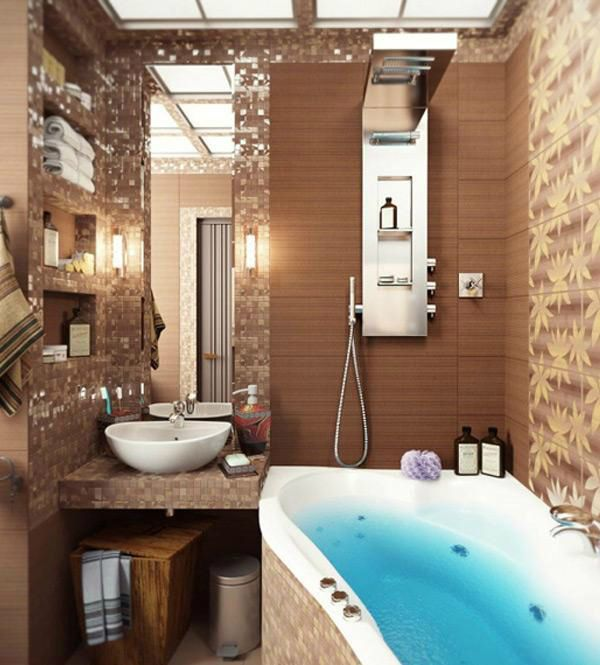 40 beige and brown bathroom tiles ideas and pictures for Brown bathroom ideas