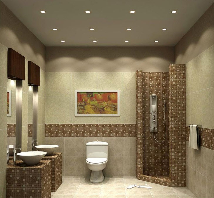 40 beige and brown bathroom tiles ideas and pictures for Brown tile bathroom ideas