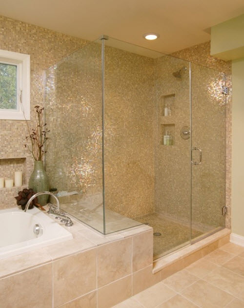 Innovative Awesome Mosaic Shower Tile With Beige Bathroom Wall Mounted Cabinet