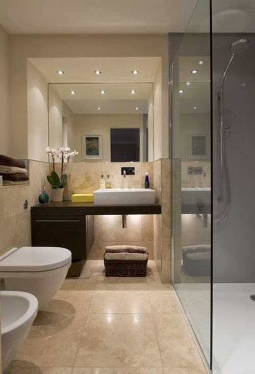 Excellent  Beige White Bathroom With Bath Bath Tub Shower Shower Enclosure Tiles