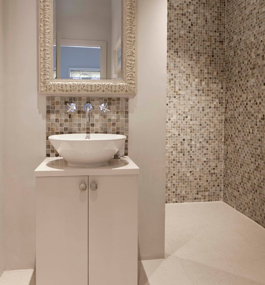 Perfect Photo Of Contemporary Beige Bathroom With Big Tiles Radiators Tiles