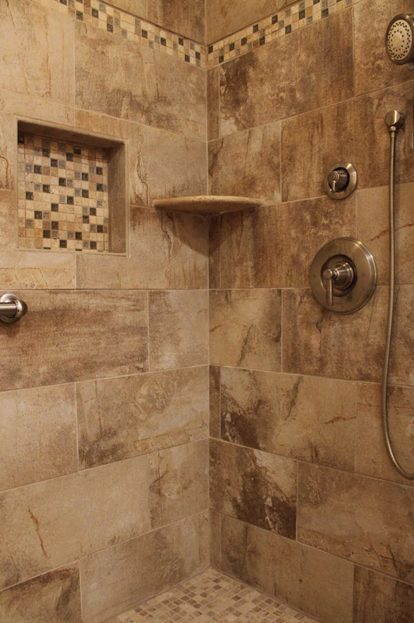 40 beige mosaic bathroom tiles ideas and pictures for Glass tile border bathroom ideas