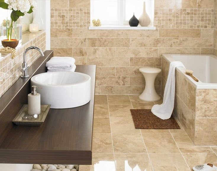 beige is often used in the bathroom for many reasons
