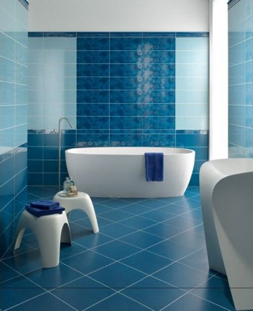40 blue bathroom wall tile ideas and pictures - Couleur salle de bain tendance ...